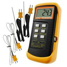 Digital 2 Channels K-Type Thermometer w/ 4 Thermocouples (Wired & Stainless S...