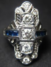 Art Deco Estate Antique Diamond & Sapphire Platinum Unique Gorgeous Ring Vintage
