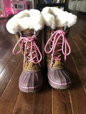 Girls London Fog Size 12 Faux Fur Rain/ Snow Boots