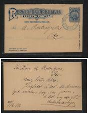 Bolivia nice cancel postal card local use 1892 Ms0117