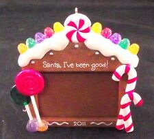 """Christmas Ornament Fireplace Personalize 3"""" Picture Area W/ Santa I've been Good"""
