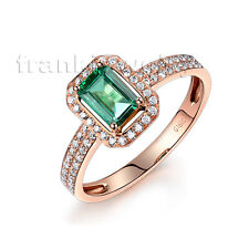 Natural Emerald Diamond Women Engagement Ring in 14Kt Rose Gold Jewelry Sets