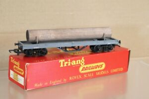 TRIANG R212 BR GREY BOGIE BOLSTER WAGON M13071 & LOG LOAD BOXED 1961 VERSION nw