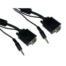 7m SVGA Male PC Monitor VGA Lead & built in 3.5mm Stereo Sound Audio Jack Cable