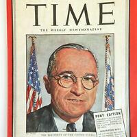 1940's President Harry S Truman VTG Time Magazine WW2 April 23, 1945