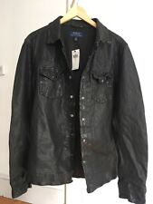 Polo Ralph Lauren Washed Leather Western Shirt Jacket Black Mens Large