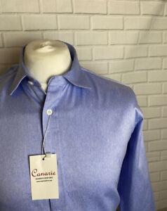 """Männer formelle Herrenhemd blau Twill 15.5"""" - 34"""" Slim Fit Knopf Manschette"""