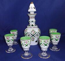 7 piece Vintage Bohemian Czech White Cut to Green Decanter Set Cordial Set