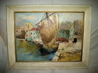 IMPRESSIONIST FRENCH HARBOR SHIP OIL PAINTING STUNNING MID CENTURY WHITE OAK