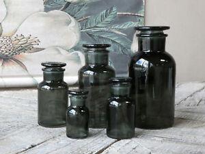 Chic Antique Alt Französisches Apotheker Glas 5-tlg grau Vase Aufbewahrung Deko