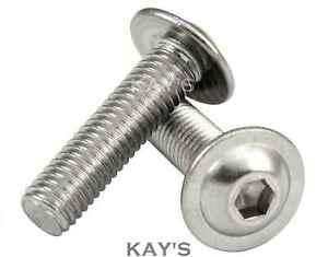 M4, M5, M6, M8mm FLANGED BUTTON HEAD SCREWS ALLEN KEY BOLTS A2 STAINLESS STEEL