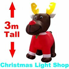3m Tall Giant REINDEER Air Power DEER Outdoor Christmas Inflatable w LED Lights