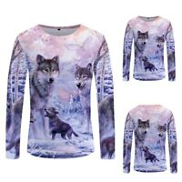 Men's Casual 3D Wolf Print Funny Long Sleeve T-Shirt Fashion Summer Tops Tees