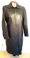 NEWLOOK BLACK Soft Real LEATHER Calf COAT XL uk18eu44us14 Chest c42ins c107cms