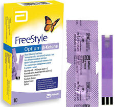 Abbott Freestyle Optium sangre B-cetona tiras de prueba (10) NUEVO