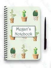 PERSONALISED NOTEBOOK A5 WIRE BOUND GIFT NOTE PAD CACTUS CACTI PATTERN GREEN
