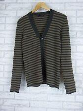 SABA Cardigan Sz S, 10 Gray, Brown Stripe 100% Wool
