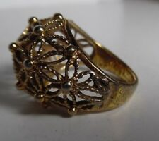 Goldtone Metal Filigree Dome Top Fashion Ring Sz 7.5 Preowned Good Cond