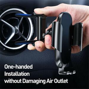 Aluminum Car Phone Holder Bracket Black for Mercedes Jeep Round A/C Air Vent 1x