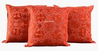 "SET OF 3 ORANGE HANDMADE 16X16"" MIRROR WORK CUSHION COVER ETHNIC DECOR ART LE"