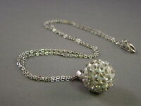 Shamballa Necklace Pendant Czech Crystal Clay Disco Ball Silver 16 MM + Necklace