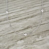 "VINTAGE $2000 20"" 0.27CT DIAMOND BY THE YARD NECKLACE IN 14K WHITE GOLD OVER"