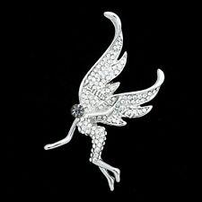 Rhinestone Crystal Brooch Pin B966< 00004000 /a> Silver-Tone Pixy Fairy Angel Clear
