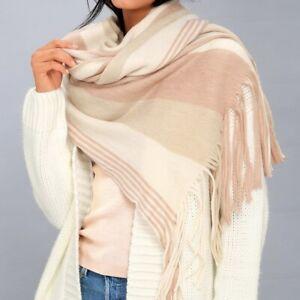 NWT Free People Blanket Scarf Pink Striped Kolby Brushed Oversized Fringe Wrap