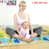 Baby Folding Crawling Mat Large Tummy Time Reversible Foldable Toddler Play Mats