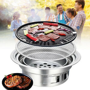 Korean Japanese Style Charcoal BBQ Grill Stove with Bakeware Outdoor Cooker
