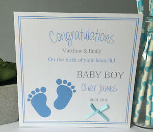 Personalised Handmade Congratulations New Baby Boy Card New Parents Footprints
