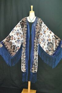 Art to Classic White Flower Burnout Velvet Fringe Kimono Opera Coat Jacket