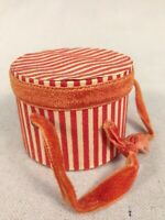 RARE Vintage/Antique Flock Striped Paper Board Doll Hat Box for Fashion/Bru 1910