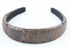 Luxurious Wide Padded Velvet Alice Band Headband Hairband Snakeskin Print Brown