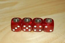 DUDDS DICE RED MARBLE w/WHITE DOTS VALVE STEM CAPS (4 PACK) #25
