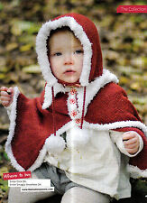 KNITTING PATTERN TODDLER CHILD HOOD & CAPE SET CONTRAST TRIM EDGES KNM M12A
