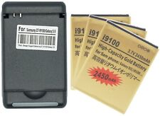 3X 2450mAh High Capacity Gold Batteries + Charger for Samsung Galaxy S2 II I9100