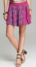 Free People Shorts Floral Sheila High Rise Culotte, Size 4, Vivid Purple, Skort