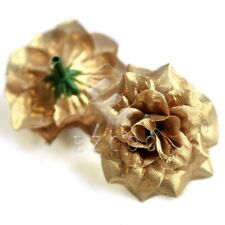 50pcs Artificial Silk Rose Flower Heads Garland Craft Wedding Decoration Gold