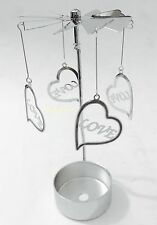 Metal Love Heart Tea Light Powered Spinning Candle Holder SPIN11