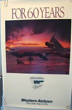 """WESTERN AIRLINES ORIGINAL POSTER """"60th Anniversary the Only Way to Fly""""   DELTA"""