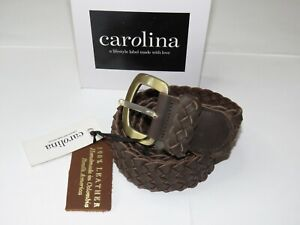Carolina Leather Belt Plaited Jeans Belt Chocolate 100% Leather Size L/XL 112cm