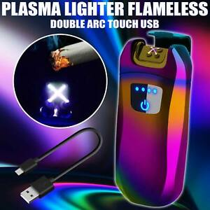 Electric USB Touch Sensor Windproof Dual Arc Flameles Rechargeable Cigar Lighter