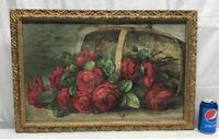 Vtg ORNATE Victorian Frame Paul De Lingre Lithograph Red Roses Basket Bees Print