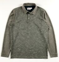 CALVIN KLEIN Polo Shirt Men's Body Fit Long Sleeve Brown Mottled / Waffle Fleece
