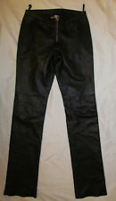 HUGO BUSCATI COLLECTION front zip  straight leg no pockets leather pants 2 P **