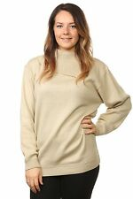 Ladies Knitted Polo Neck Full Sleeve Pullover Jumpers Tops Plus Size16 to 26 UK Size 24/26 Beige 100 Acrylic
