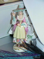 Antique Volkstedt Early Dresden German Porcelain Witch / Mother Goose Figurine