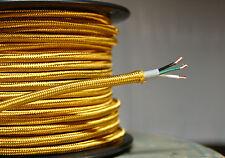 Gold Tuch Bedeckt 3-Wire Rund Kordel, 18ga. Vintage Lampen Antik Licht, Viskose
