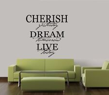 CHERISH DREAM LIVE WALL QUOTE DECAL STICKER VINYL HOME